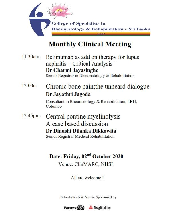 Monthly Clinical Meeting – October 2020