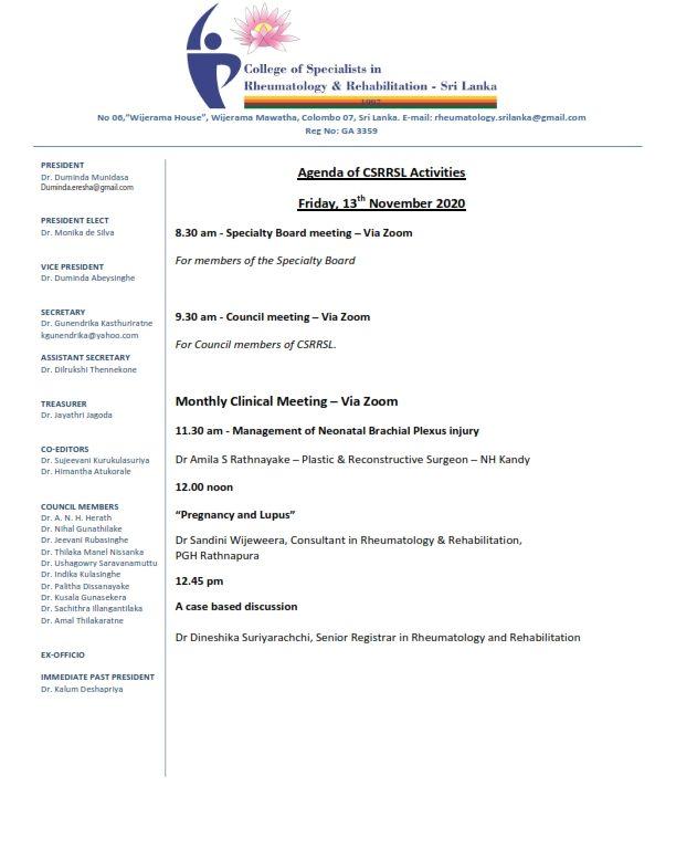 Agenda of CSRRSL Activities – Friday, 13th November 2020